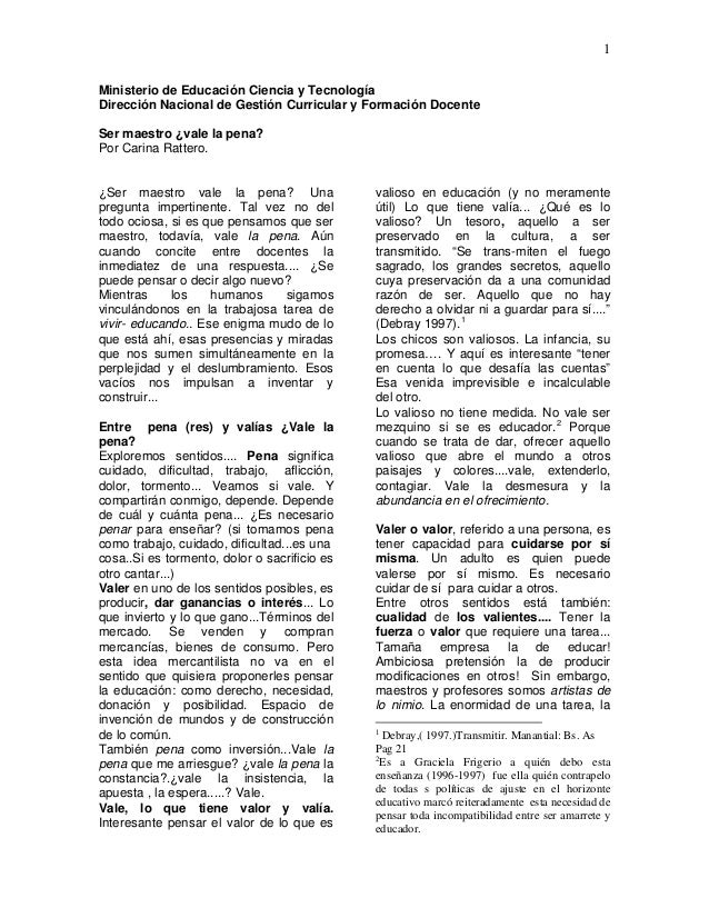 1 Ministerio de Educación Ciencia y Tecnología Dirección Nacional de Gestión Curricular y Formación Docente Ser maestro ¿v...