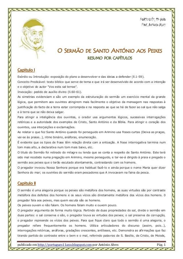 publicado em http://portugues11ano.blogspot.com por António Alves Pág. 1 PORTUGUÊS,11º ANO PROF.ANTÓNIO ALVES O SERMÃO DE ...
