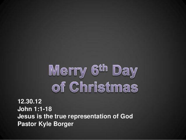 Sermon 12.30.12 - Jesus Represents God - John 1:1-18