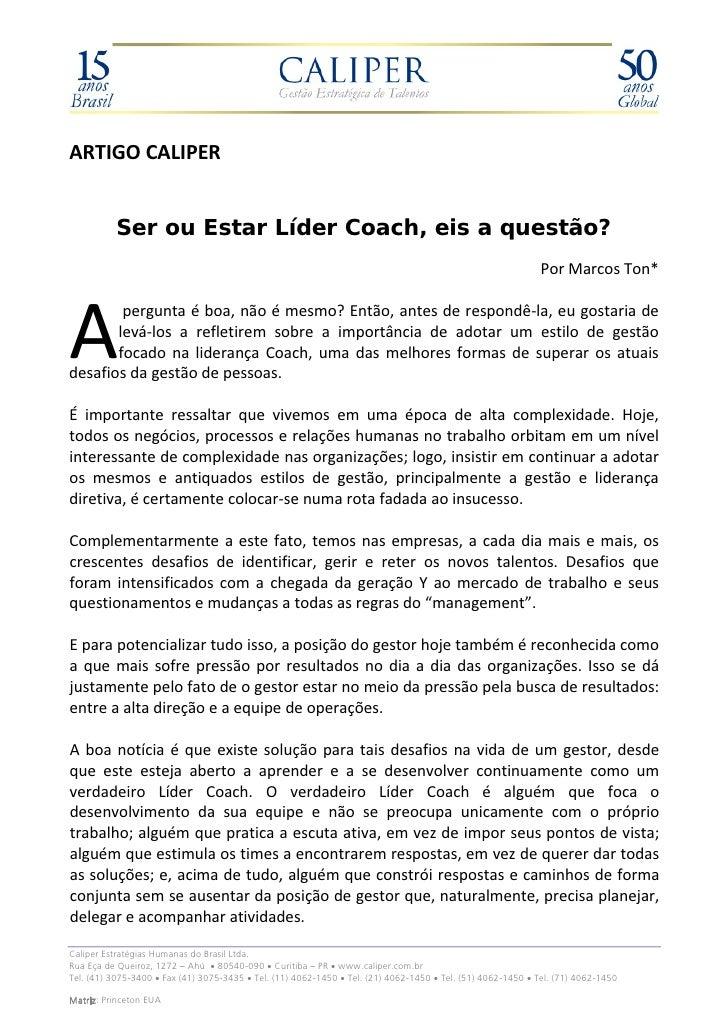 Ser ou Estar Líder Coach, eis a questão?