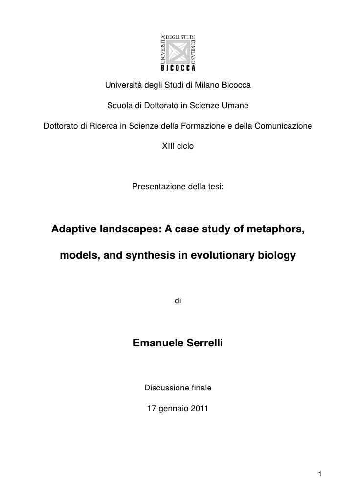 Università degli Studi di Milano Bicocca                    Scuola di Dottorato in Scienze Umane    Dottorato di Ricerca i...