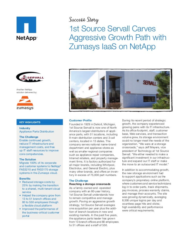 1st Source Servall Carves Aggressive Growth Path with Zumasys IaaS on NetApp