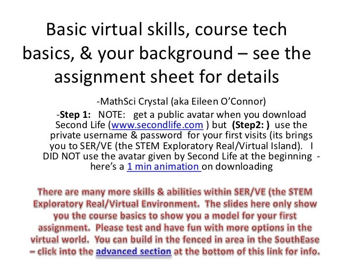 Basic virtual skills, course techbasics, & your background – see the    assignment sheet for details              -MathSci...