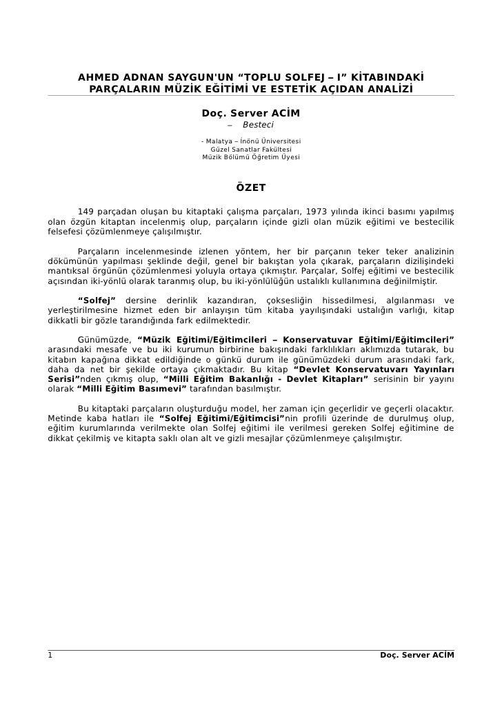 Server Acim Saygun Semineri Bildiri Metni
