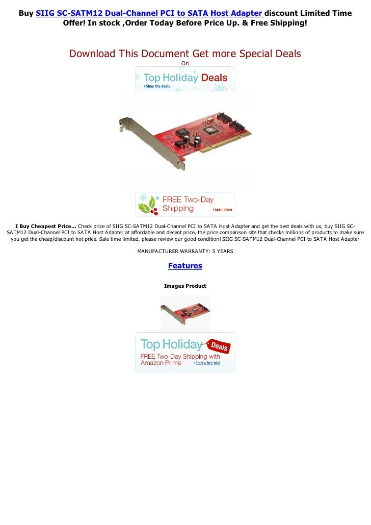 Buy SIIG SC-SATM12 Dual-Channel PCI to SATA Host Adapter discount Limited Time              Offer! In stock ,Order Today B...