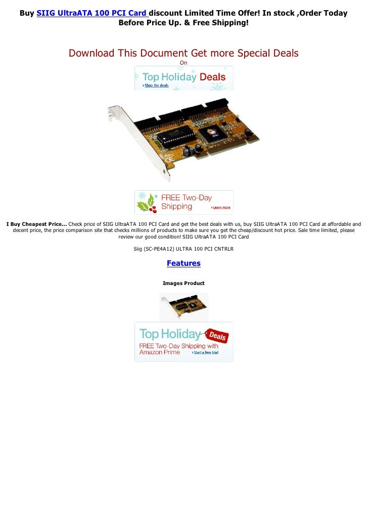 Buy SIIG UltraATA 100 PCI Card discount Limited Time Offer! In stock ,Order Today                            Before Price ...