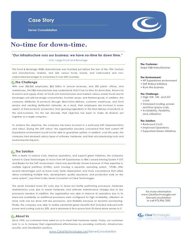 Server Consolidation 06.15.10 Major F&B Manufacturer