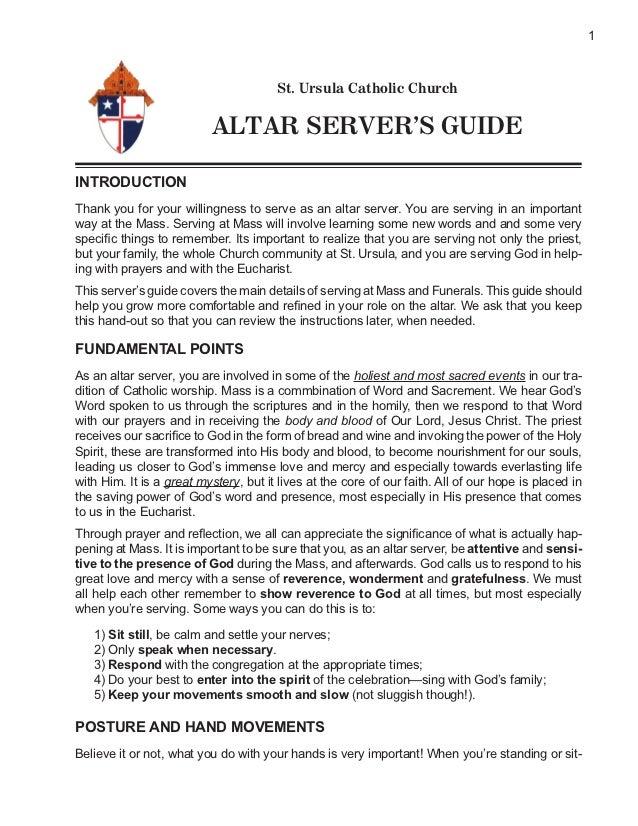 1                                       St. Ursula Catholic Church                          ALTAR SERVER'S GUIDEINTRODUCTI...