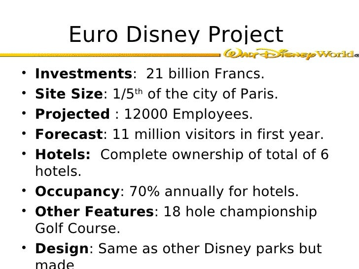 euro disney case essay example The not-so-wonderful world of euro disney a case study by: kevin huong international marketing feb 11, 2014 introduction this case study is about the early process of planning and construction of management in a new disney theme park in paris, france, known as euro disney.