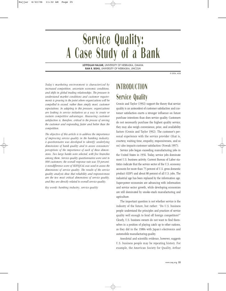 Service quality-bank-case-study-vg