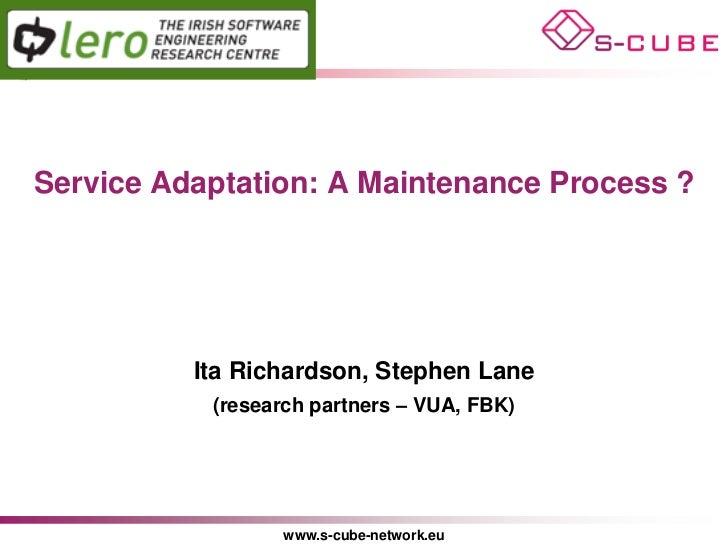 S-CUBE LP: Service Adaptation: A Maintenance Process ?