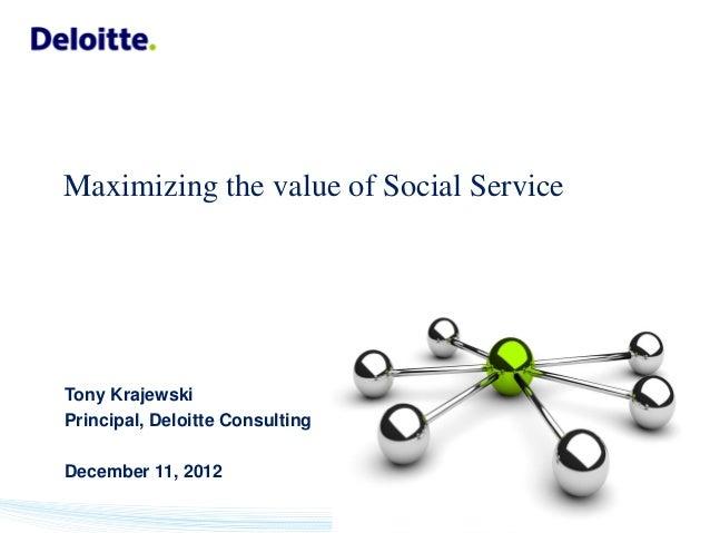 Maximizing the value of Social ServiceTony KrajewskiPrincipal, Deloitte ConsultingDecember 11, 2012