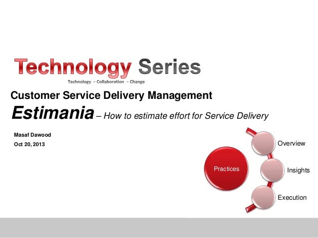 Customer Service Delivery Management  Estimania – How to estimate effort for Service Delivery Masaf Dawood  Overview  Oct ...