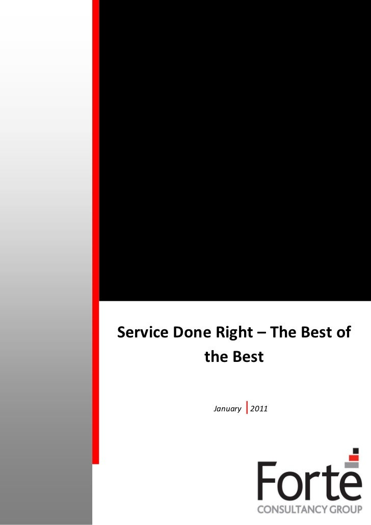 Service Done Right – The Best of           the Best             January   |2011