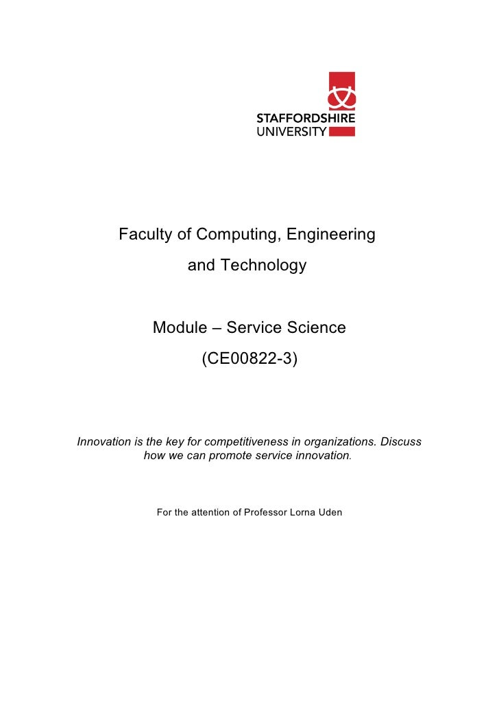 Faculty of Computing, Engineering                      and Technology                 Module – Service Science            ...