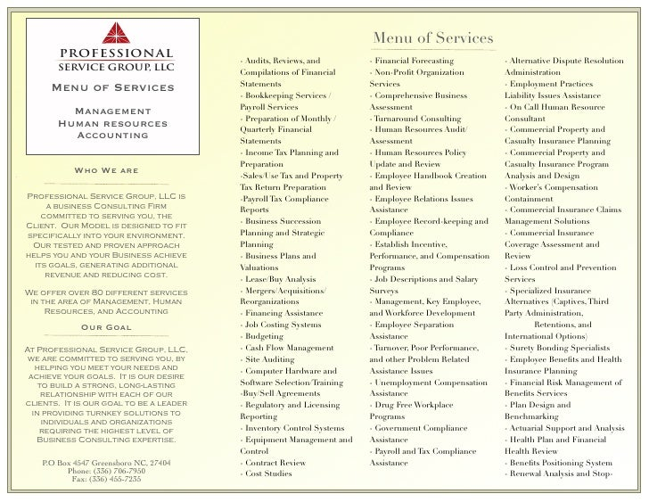 Menu of Services                                          - Audits, Reviews, and        - Financial Forecasting         - ...