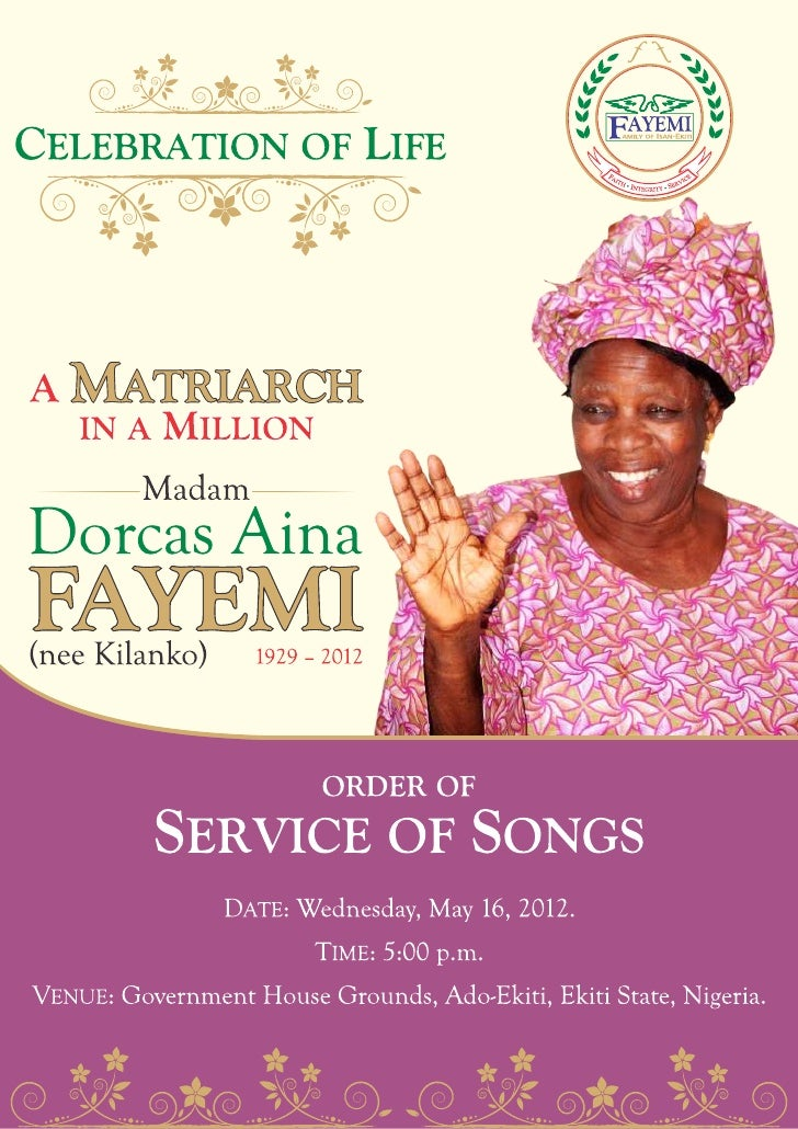 Service of songs programme