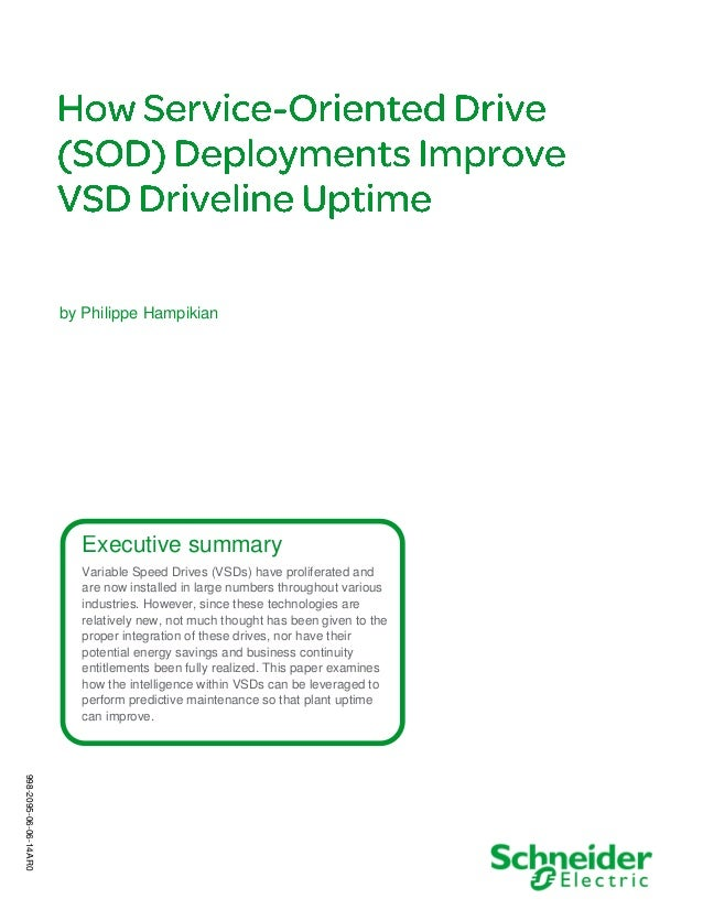 Executive summary Variable Speed Drives (VSDs) have proliferated and are now installed in large numbers throughout various...