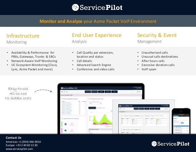 Monitor and Analyze your Acme Packet VoIP Environment  Infrastructure  End User Experience  Security & Event  Monitoring  ...