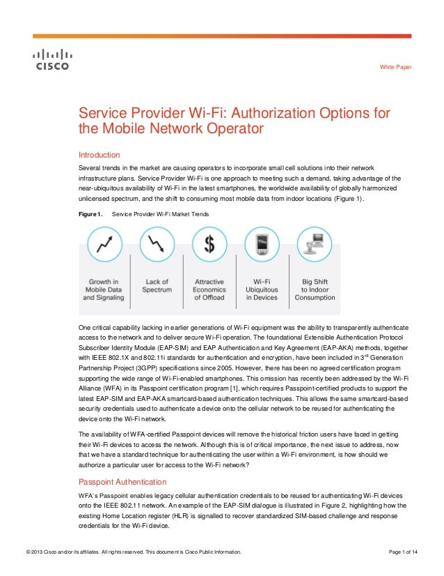Service Provider Wi-Fi: Authorization Options for the Mobile Network Operator