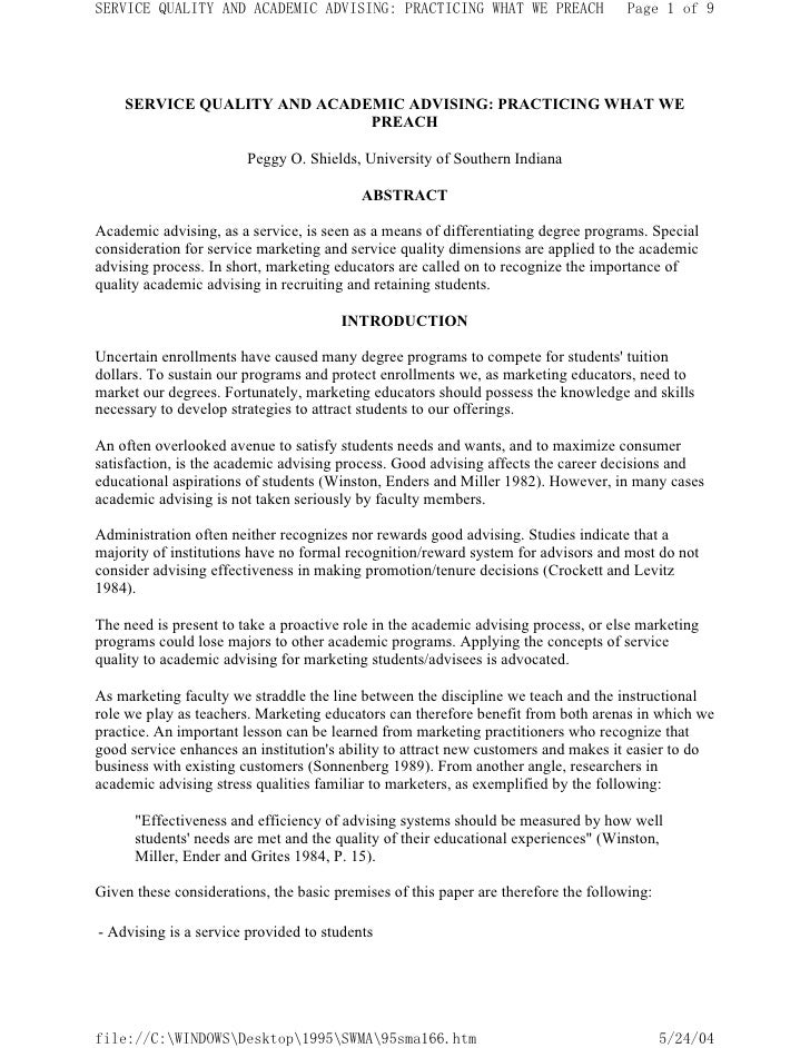 SERVICE QUALITY AND ACADEMIC ADVISING: PRACTICING WHAT WE PREACH                    Page 1 of 9         SERVICE QUALITY AN...