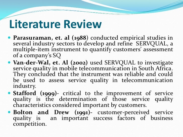 Service quality literature review