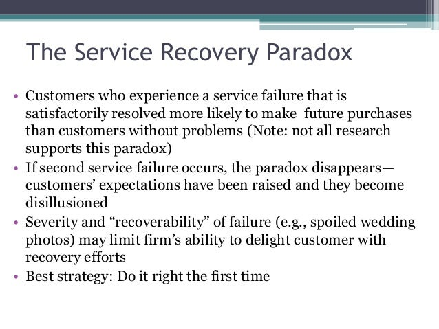 service failure and recovery essay The study objective was to determine the efficiency of recovery strategies for  various service failures in the restaurant industry efficiency was.
