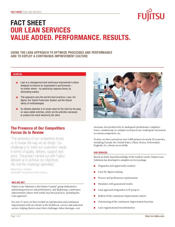 fact sheet OUR LEAN SERVICESFact sheetOUR LEAN SERVICESVALUE ADDED. PERFORMANCE. RESULTS.USING THE LEAN APPROACH TO OPTIMI...