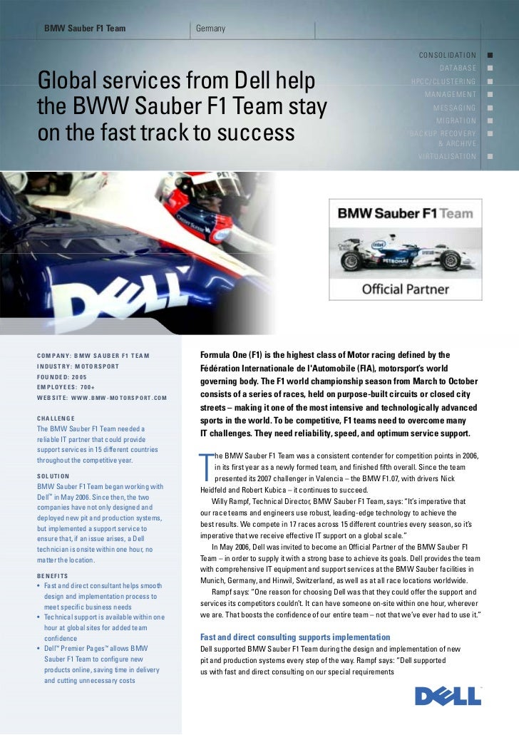 Services Case Study BMW Sauber F1