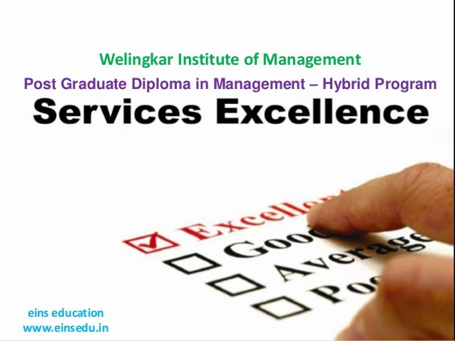 Welingkar Institute of Management Post Graduate Diploma in Management – Hybrid Program  eins education www.einsedu.in
