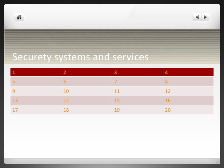 Securety systems and services 1 2 3 4 5 6 7 8 9 10 11 12 13 14 15 16 17 18 19 20