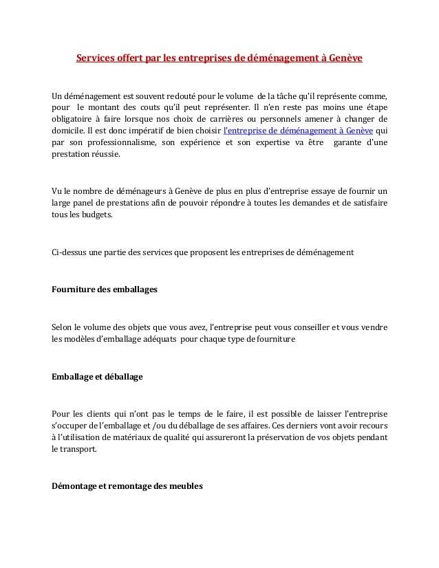 Services offert par les entreprises de déménagement à Genève  Un déménagement est souvent redouté pour le volume de la tâc...