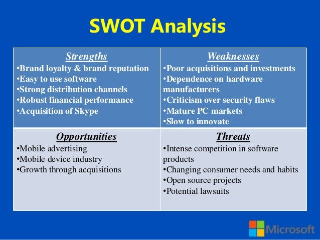 swot analysis of microsoft corporation Here is the marketing strategy of microsoft which is one of the  swot analysis – click here to read the swot analysis of microsoft  visio corporation,.