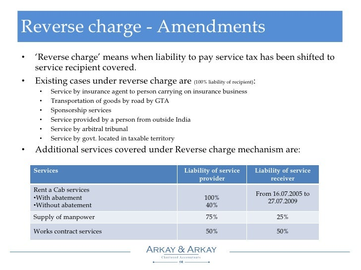 Service tax ... Reverse Charge On Gta