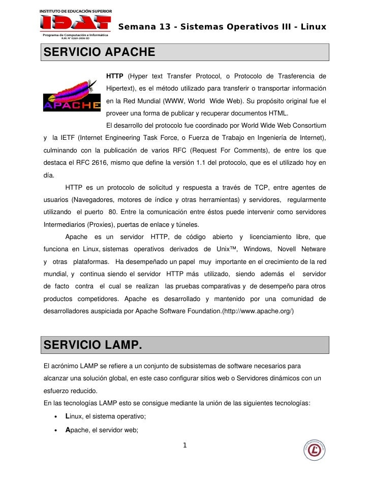 Semana 13 - Sistemas Operativos III - Linux   SERVICIOAPACHE                         HTTP (Hyper  text  Transfer  Pro...