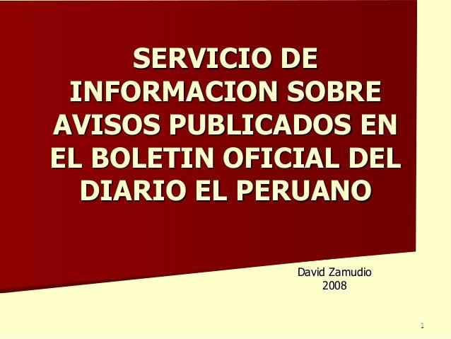 Servicio de informacion boletin oficial el peruano less xls