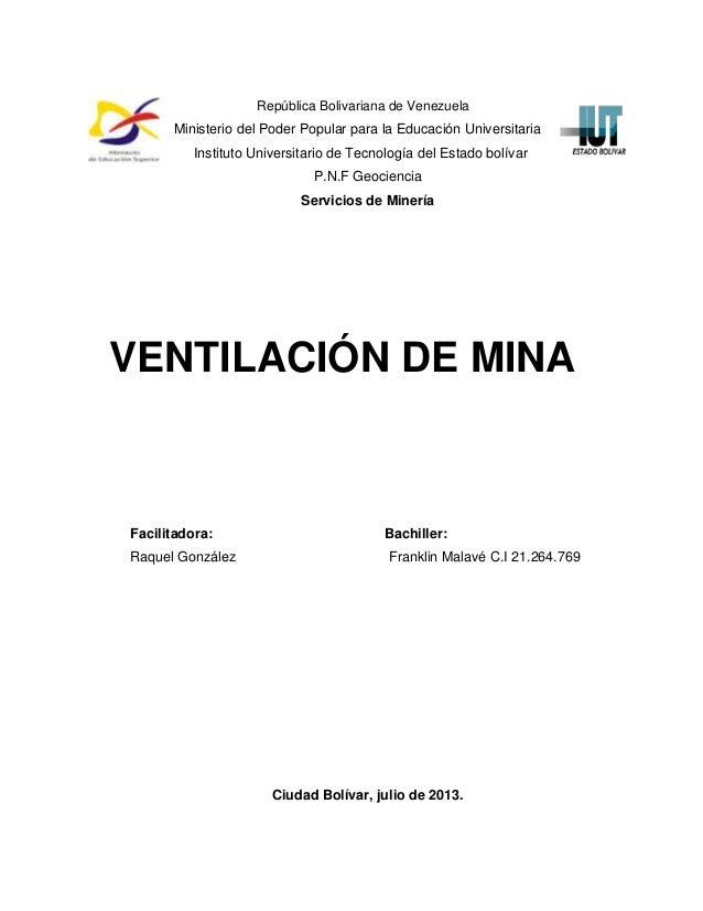 Servicio de minas (ventilacion de minas)