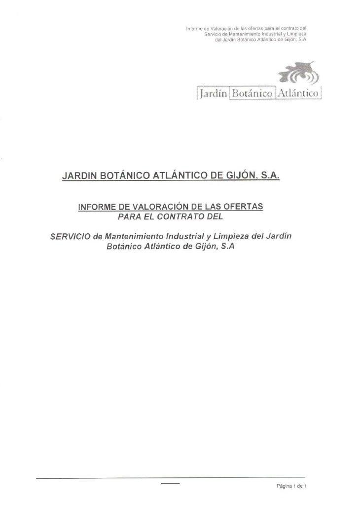 Propuesta de adjudicación: Servicio mantenimiento y limpieza