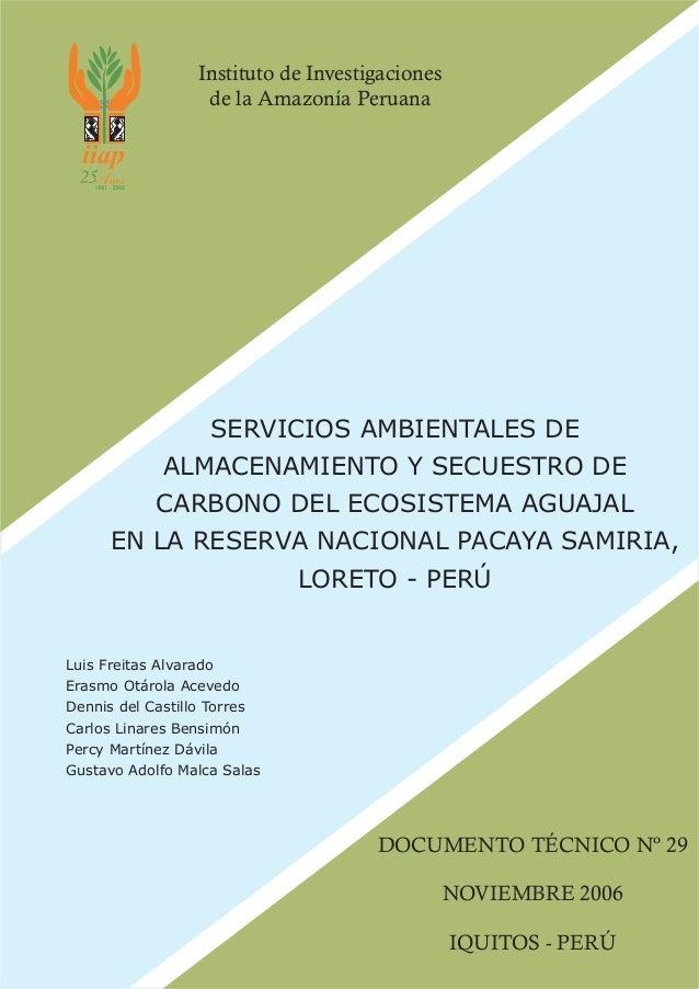 Servicios ambientales de secuestro de carbono en loreto