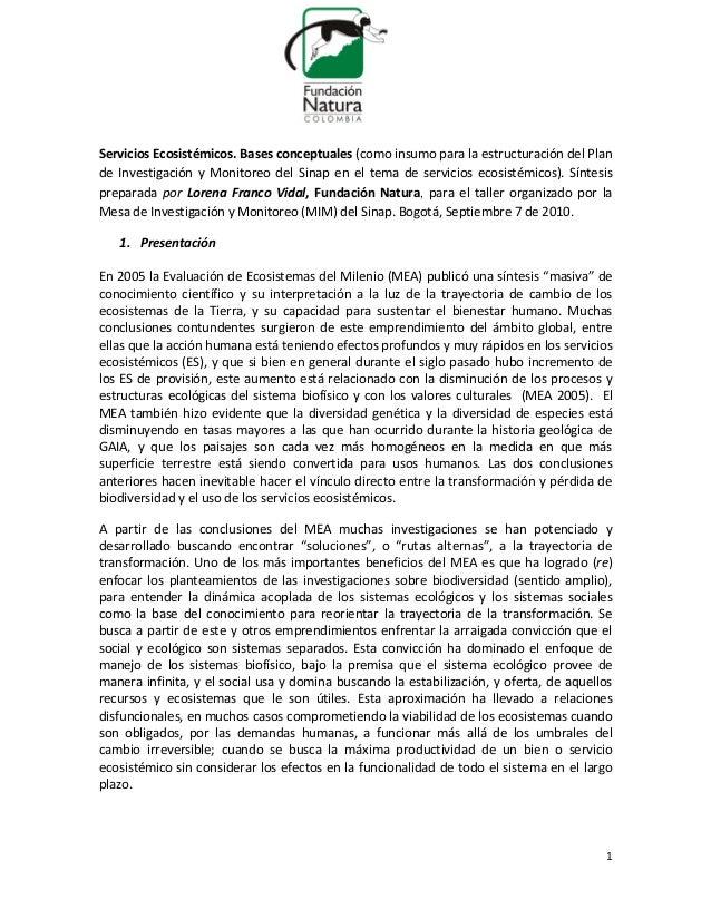 Servicios Ecosistémicos. Bases conceptuales (como insumo para la estructuración del Plande Investigación y Monitoreo del S...