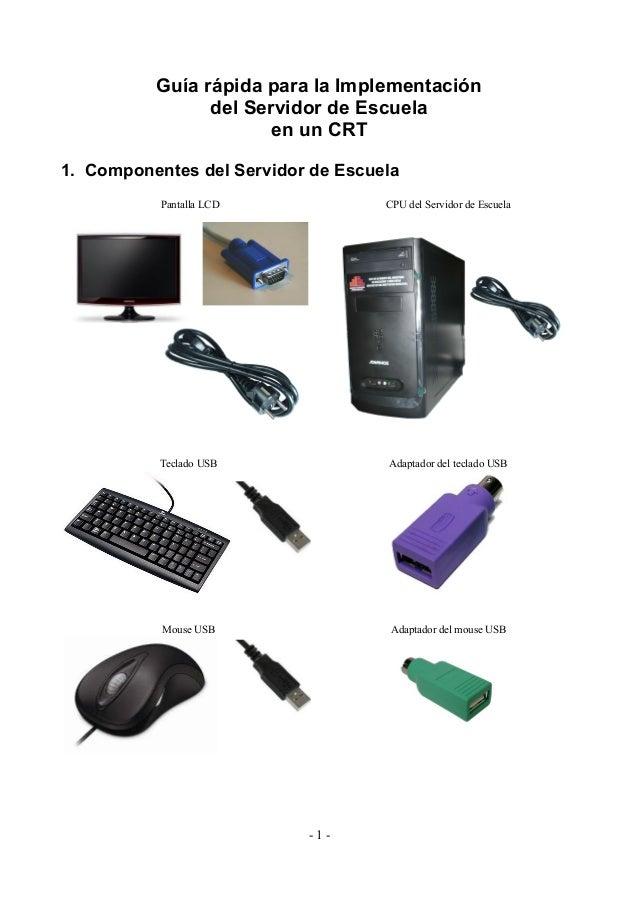 Guía rápida para la Implementación del Servidor de Escuela en un CRT 1. Componentes del Servidor de Escuela Pantalla LCD C...