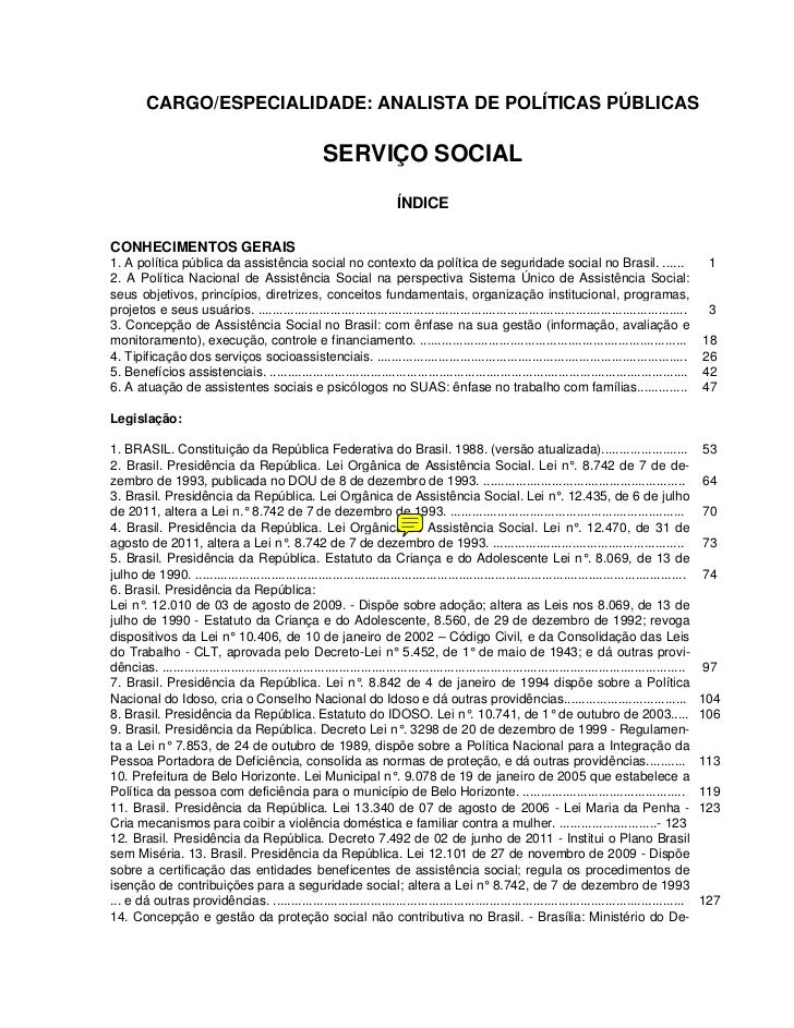 CARGO/ESPECIALIDADE: ANALISTA DE POLÍTICAS PÚBLICAS                                                        SERVIÇO SOCIAL ...