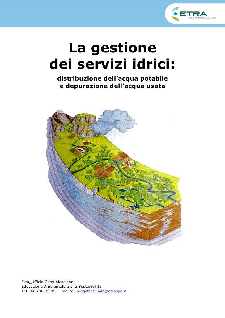 La gestione              dei servizi idrici:                  distribuzione dell'acqua potabile                   e depura...