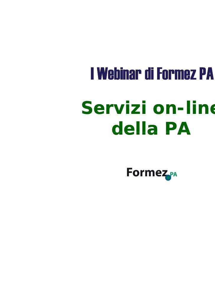 Servizi on line della Pubblica Amministrazione