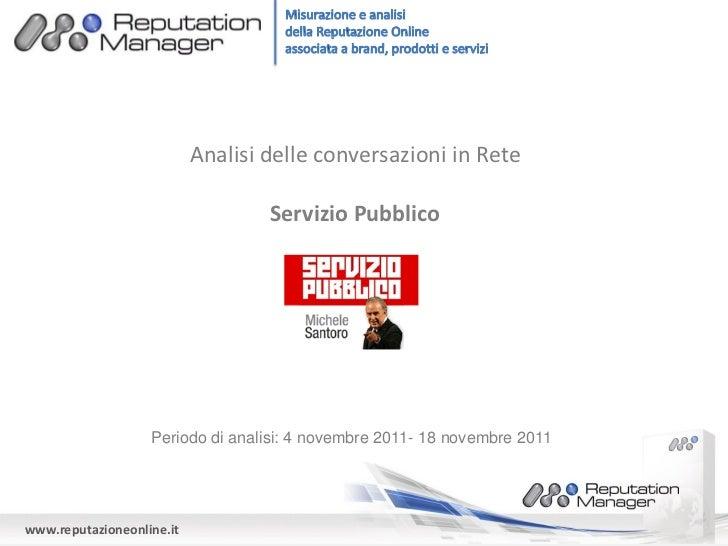 Analisi delle conversazioni in Rete                                   Servizio Pubblico                   Periodo di anali...