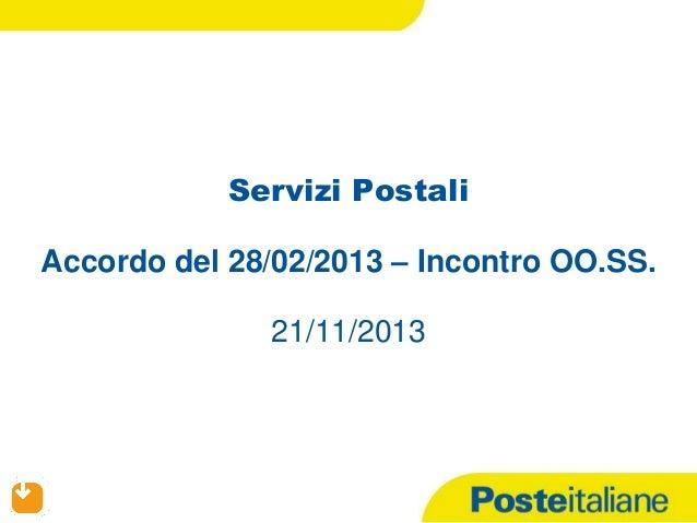 Servizi Postali Accordo del 28/02/2013 – Incontro OO.SS.  21/11/2013  21/11/13