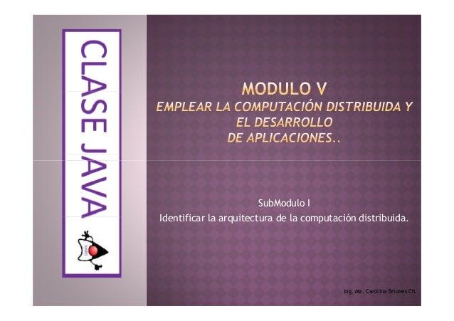 SubModulo IIdentificar la arquitectura de la computación distribuida.Ing. Ma. Carolina Briones Ch.