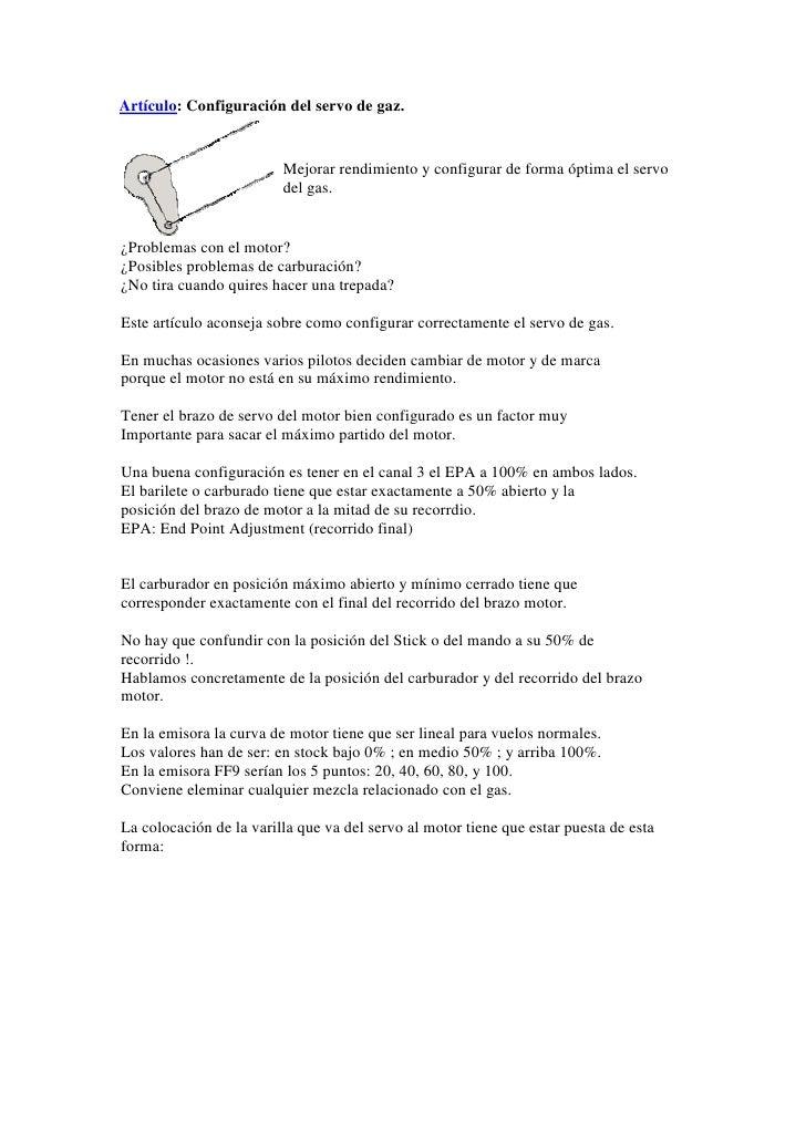 Artículo: Configuración del servo de gaz.                            Mejorar rendimiento y configurar de forma óptima el s...