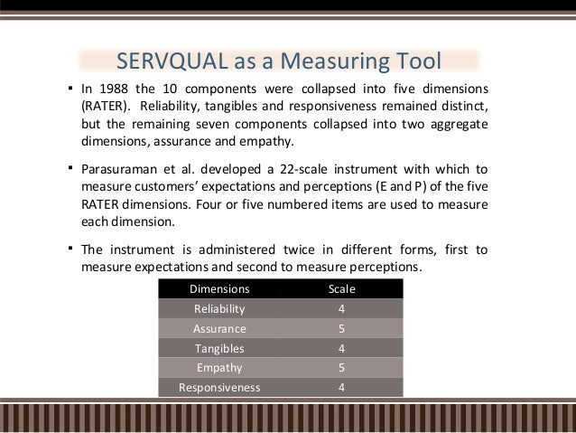 servqual model for measuring customer satisfaction Service quality and customer satisfaction are the two factors, which influence   the servqual model only aims to measure the functional aspect of service.