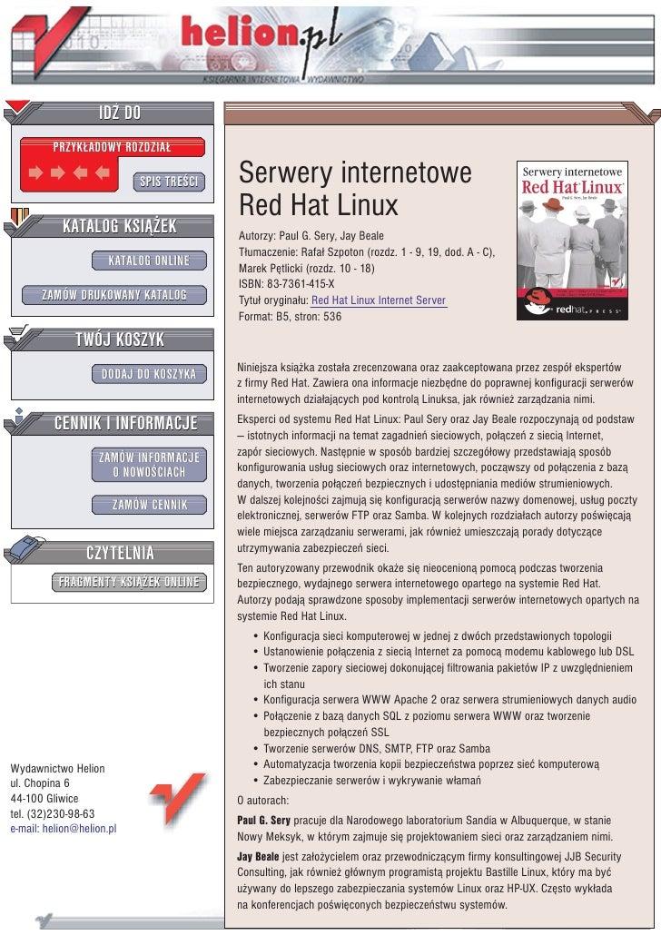 IDZ DO          PRZYK£ADOWY ROZDZIA£                             SPIS TRE CI   Serwery internetowe                        ...